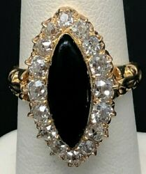 1.5 Cts 18k Antique Gold Old Mine Cut Black Enamel And Diamond Ring Size 5.5