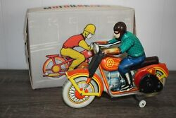 Vintage Wind Up Tin Toy Made In The Soviet Union Motorcycle With Original Box