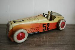 Antique France Rare Charles Rossignol Open Wheel Racer Car Wind Up Tin Litho Toy