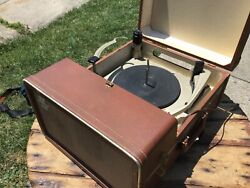 Vintage Silvertone Suitcase Record Player Model 7245 Sears Roebuck And Co. Tubes