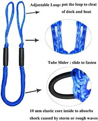 2pcs Blue Bungee Dock Line Mooring Rope Cords For Boat Kayak Stretch 4-5.5 Ft