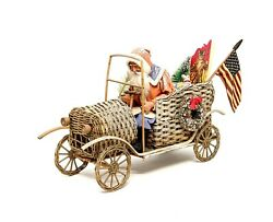 Retro Vintage Santa In Wicker Automobile W/ Mica Snow And Gifts - German Christmas