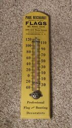 Early Wooden Advertising Thermometer Flag And Bunting Decorator Poughkeepsie Ny Us