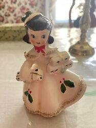 Vintage Relco Mcm Christmas White Dress Shopper Girl Figurine With Label