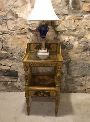 Early American Painted Yellow Wash Stand Lamp Table.connecticut Or Maine C1830