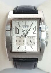 Piaget Upstream Chronograph 27150 Stainless Steel And Leather Band Watch - Nice