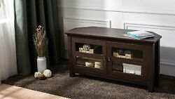 Corner Tv Stand With Shelving Cabinet 44 Inch Glass Doors Vintage Laminate Wood