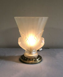 Vintage Art Deco Frosted Glass Uplight Table Lamp 2 Spread-winged Doves Brass B
