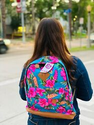 Caligir new Beach Backpack with pink hibiscus flowers $38.00