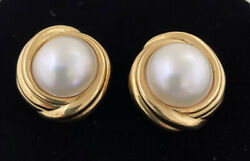 Estate Authentic Italy 18k Yellow Gold 17mm Mabandeacute Pearl Clip On Earrings
