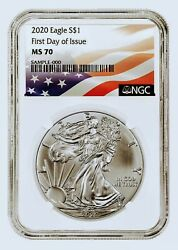 2020 1 American Silver Eagle First Day Issue Ngc Ms70 White Core