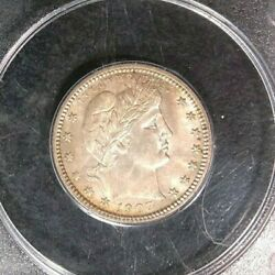 1907-d Barber Silver Quarterpcgs Ms 64 Pq Coin Old Rattler Beautiful Coin