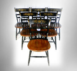 Hitchcock Furniture Set Of Six Black And Maple Chairs - Gold Floral Designs