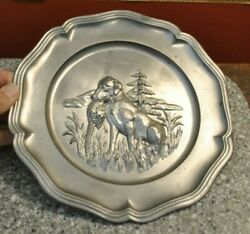 Vintage Hand Made Pewter Wall Decor Hunting Plate Dog Bird Pheasant 9