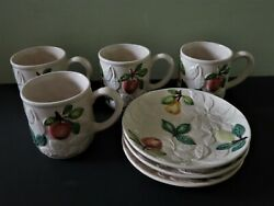 Jf Olfaire Portugese Majolica Embossed Fruit Snack Set - 4 Mugs And 3 Plates