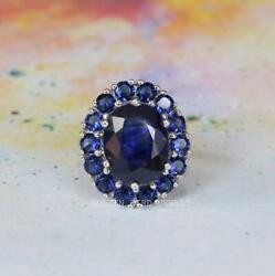 10 Ct Natural Blue Oval Sapphire Gemstone White Gold Ring Moissanite Halo Ring