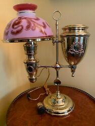 Rare Form Large Parker Student Lamp, Extra Large Oil Reserve Tank In Oil