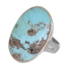 Sterling Silver Jewellery Statement Ring With Large Turquoise Oval Natural ...