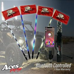 Pair 4ft 400 Combination Deluxe Led Whipsand New Bluetooth Sync Module Honda Talon