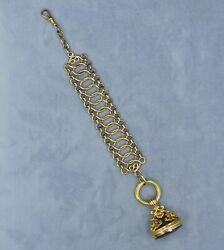 Antique 15ct Yellow Gold Watch Chain With Fancy Carnelian Fob