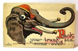 quot;Pack your trunk and come overquot; circus elephant Wall mechanical postcard