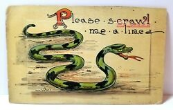 quot;Please Scrawl me a Linequot; slithering snake Wall mechanical postcard