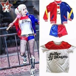 Kids Girls Suicide Squad Harley Quinn Coat Shorts Top Set Halloween COS Costume $23.98