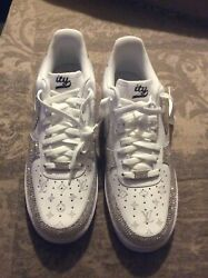 Custom Nike White Shoes With Zcrystals