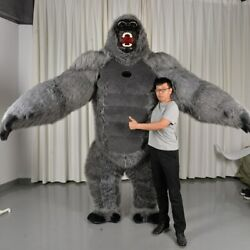 Inflatable King Kong Gorilla Costume For Adult Halloween Plush Furry Suit, New