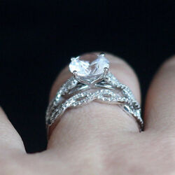 Real Diamond Rings 2.70 Ct Moissanite Engagement Ring Solid 14k White Gold Round