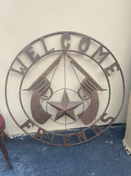 """Welcome Friends 36"""" Western Guns And Stars Ranch Gate Entrance Emblem - Cast And Tin"""