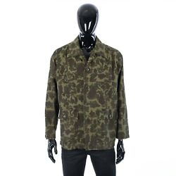 Celine 1300 Military Overshirt In Camouflage Printed Cotton And Ramie