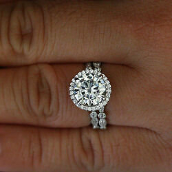 2.80 Ct Solitaire Diamond Engagement Rings 14k White Gold Band Sets Size 6 7 8 9