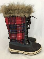 Totes Boots Gina Women#x27;s Red Plaid Waterproof Faux Fur Lace Up US Size 6 M $34.99