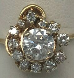 1.45 Cts 14k Yellow And White Gold Diamond Engagement Ring Size 7.25