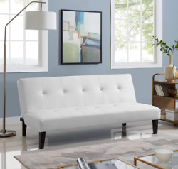Futon Sofa Flat Bed Couch Dorm Furniture White Leather Apt Armless Reclining New