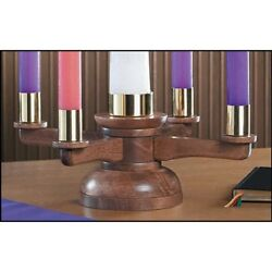Antique Maple Stain Advent Candle Table Stand Maple Hard Wood With Brass