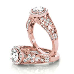 Solid Diamond Engagement Rings 14k Rose Gold Round Cut 1.10 Ct Ring Size 6 7