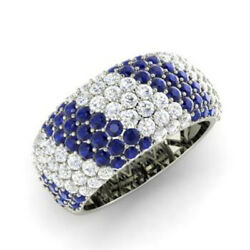 1.32 Ct Real Diamond Blue Sapphire Ring Solid 950 Platinum Womenand039s Band Size 7 8