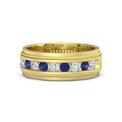 0.60 Ct Diamond Menand039s Band Real Sapphire 18k Solid Yellow Milgrain Crown Band 11