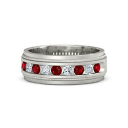 0.60 Ct Diamond Menand039s Rings Natural Ruby 18k Solid White Milgrain Crown Band 10