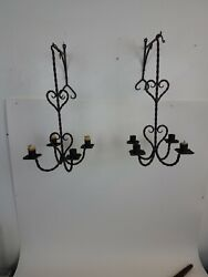Pair Antique Primitive Hand Chased Wrought Iron Hanging Candle Holder Sconces 👍