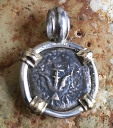 Treasure Coin Jewelry Widowand039s Mite Ancient Biblical Authentic Pendant Ss/14k