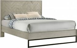 Contemporary Bedroom Furniture Matte Black Base Gray Stone 4p Queen Size Bed Set