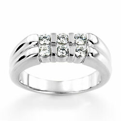 Real 0.60 Ct Diamond Engagement Mens Band Fine 14k White Gold Round Ring Size 12