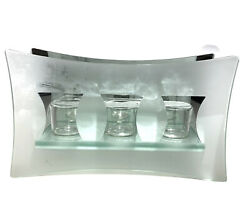 Partylite Stratus Wall Sconce Glass Mirror Frosted Hanging Votive Candle Holder