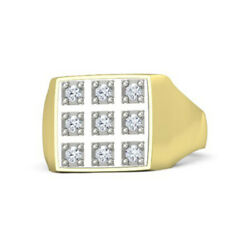 0.34 Ct Real Diamond Engagement Menand039s Ring Solid 14k Yellow Gold Round 11 12