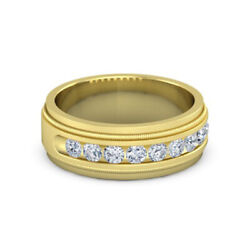 Menand039s Band 0.6 Ct Diamond Ring 14k Solid Yellow Gold Milgrain Crown Ring Size 11