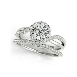 1.00 Ct Real Round Diamond Engagement Ring Solid 14k White Gold Band M N O