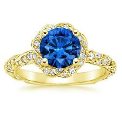 2.20 Ct Real Diamond Gemstone Ring Solid 14k Yellow Gold Band Size M N O P